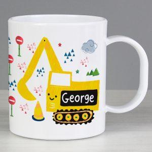 Personalised Digger Plastic Mug