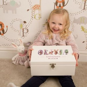 Personalised Deluxe Wooden Keepsake Box - Girls