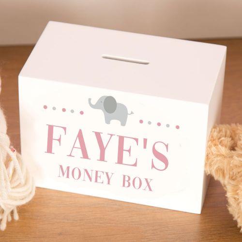 Personalised Wooden Moneybox - Elephant