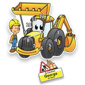 Children's Personalised Digger Clock
