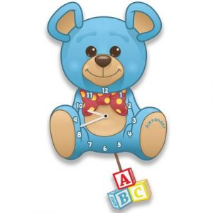 Children's Teddy Bear Clock - Blue