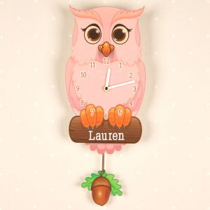 Personalised Pink Owl Clock