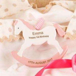 1st Birthday Rocking Horse Keepsake Gift Pink