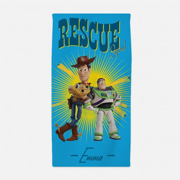Toy Story 4 Personalised Towel - Woody & Buzz Rescue Squad