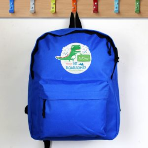 Personalised Be Roarsome Dinosaur School Bag Backpack