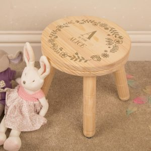 Girls Initial Personalised Wooden Stool