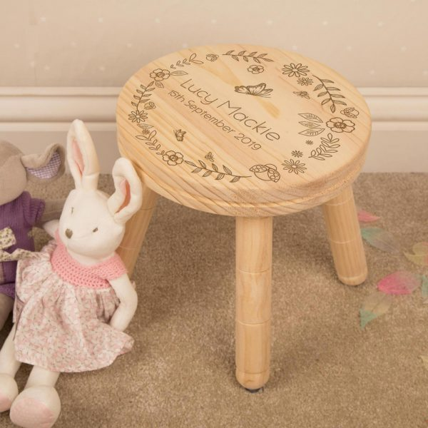 Girl's Floral Personalised Wooden Stool