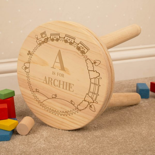 Train Personalised Wooden Stool