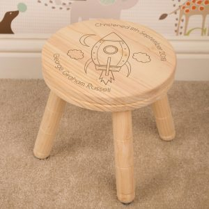 Personalised Wooden Stool Space Rocket