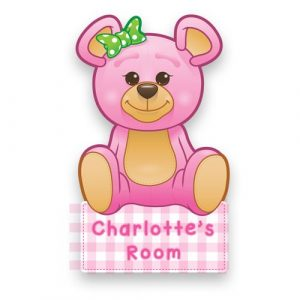 Pink Teddy Door Name Plaque
