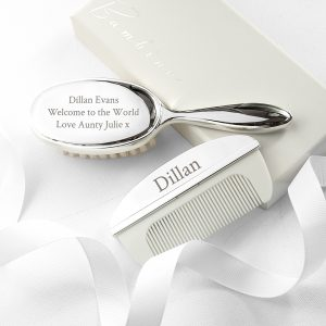 Silver Plated Baby Brush & Comb Set