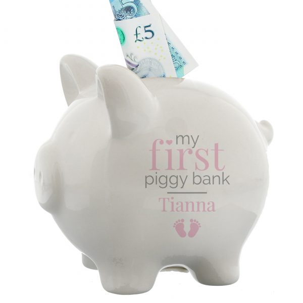 Personalised 1st Piggy Bank Girls