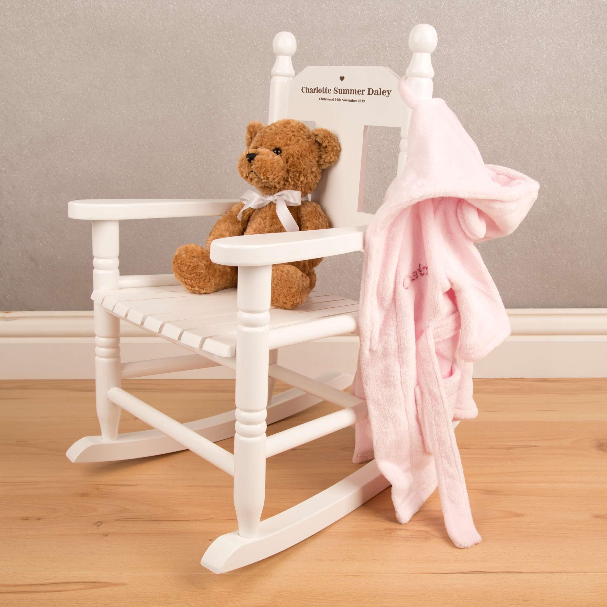Children's Rocking Chair Personalised White
