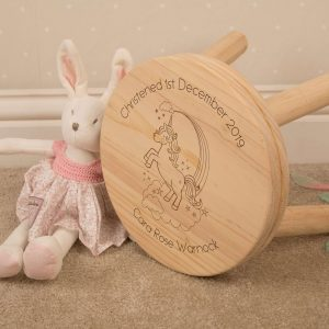 personalised childrens stool unicorn