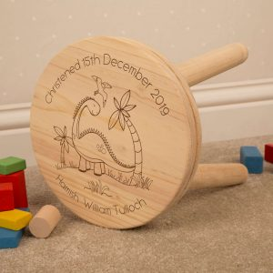 personalised dinosaur wooden stool