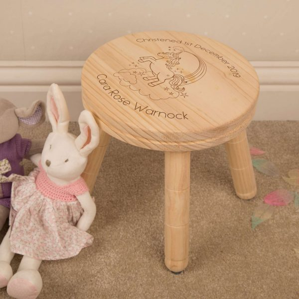 personalised unicorn wooden stool