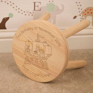Personalised Wooden Stool Pirate Ship