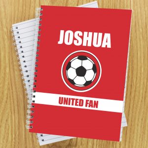Personalised Red Football Fan Notebook