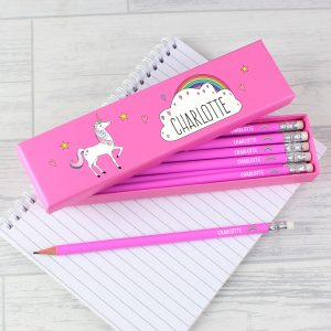 Personalised Unicorn Box Pencils