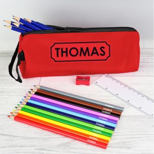 Red Pencil Case & Personalised Pencils