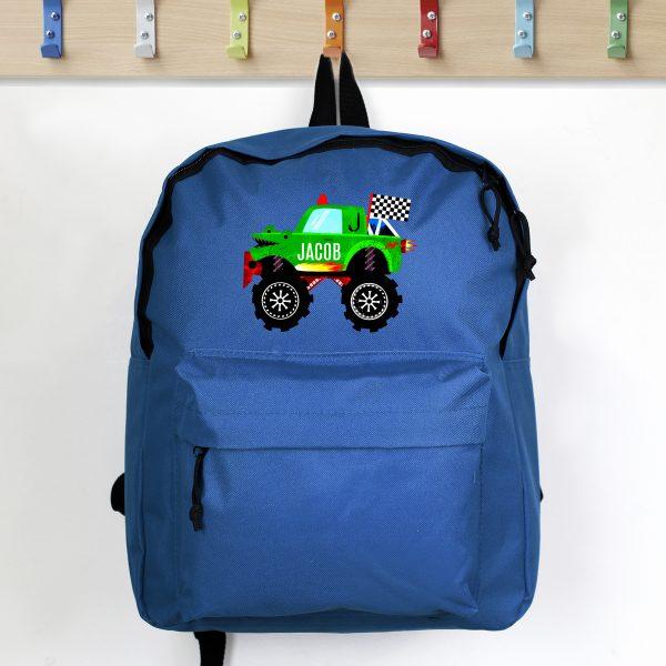 Personalised Monster Truck Blue Backpack