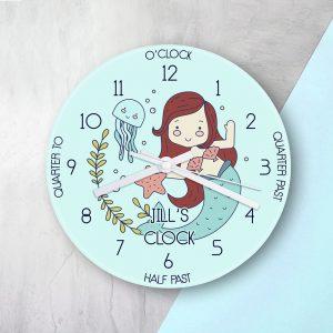 Personalised Mermaid Glass Clock