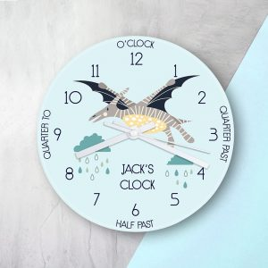 Kids Pterodactyl Glass Clock