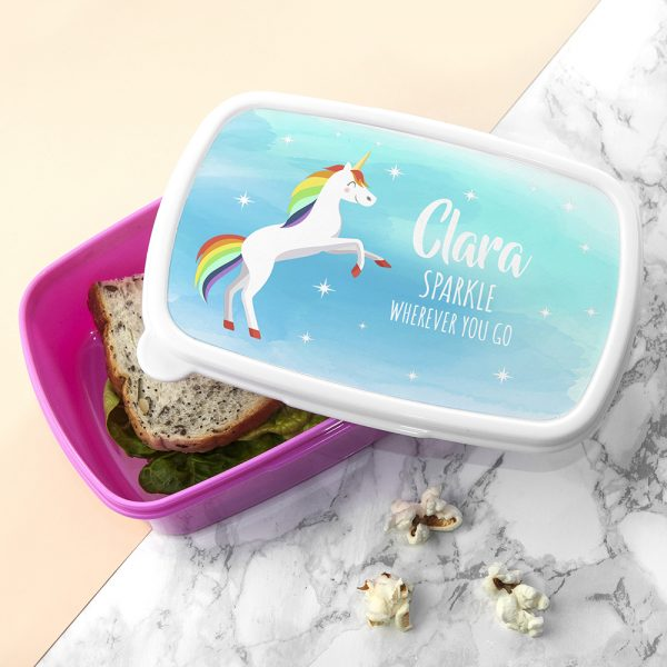 Personalised Rainbow Unicorn Lunch Box