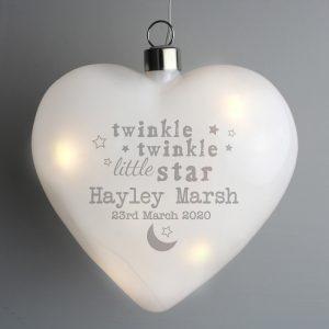 Personalised Twinkle Twinkle LED Heart