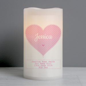 Personalised Stitch & Dot Pink LED Candle