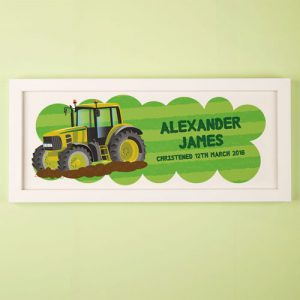 Yellow Tractor Personalised Framed Print