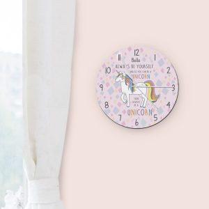 Always Be A Unicorn Round Clock