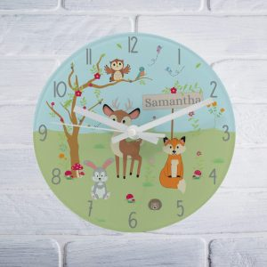 Forest Woodland Glass Clock