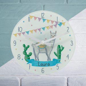 Llama Fiesta Glass Clock