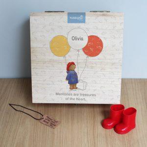 Paddington Bear Balloon Hinged Memory box