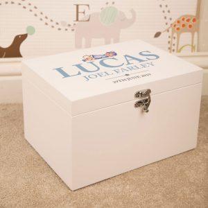 Baby Boy Personalised White Keepsake Box