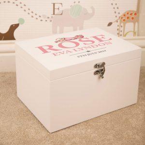 Baby Girl Personalised White Keepsake Box