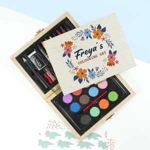 Personalised Flower Garland Mini Colouring Set