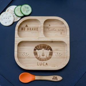 Lion Bamboo Suction Plate & Spoon