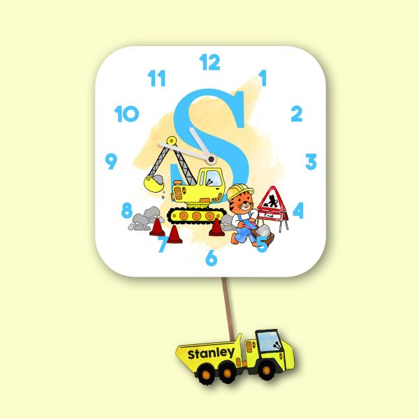 Alphabet Construction Pendulum Wall Clock