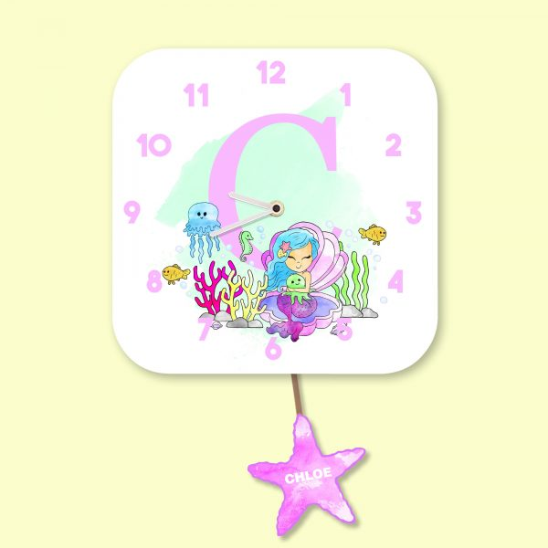 Alphabet Mermaid Wall Clock