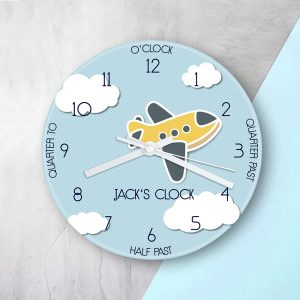 Personalised Large Kids Aeroplane Glass Clock