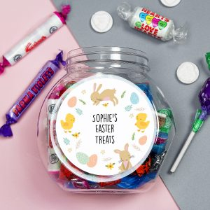 Personalised Easter Bunny & Chick Sweet Jar